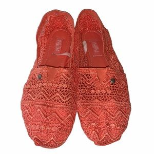 Coral crochet espadrilles like new size 10